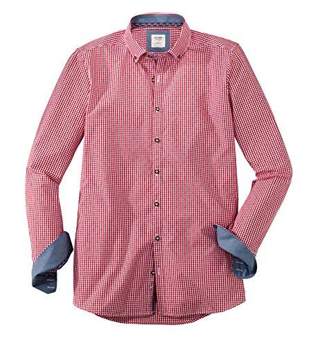 OLYMP Hemd Trachtenhemd Level 5 Body Fit rot/Weiss, Größe S