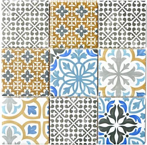 Retro Vintage Mosaik Fliese Keramik creme blau orange grau matt MOS22B-1406