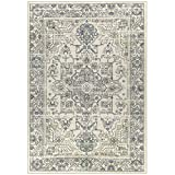 Maples Rugs Distressed Tapestry Vintage Large Area Rugs Carpet for Living Room & Bedroom [Made in USA], 7 x 10, Neutral