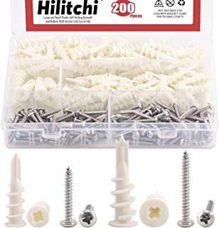Hilitchi 200 Pieces 2 Size Plastic Self Drilling Drywall and Hollow-Wall Anchors with Tapping Screws Assortment Kit