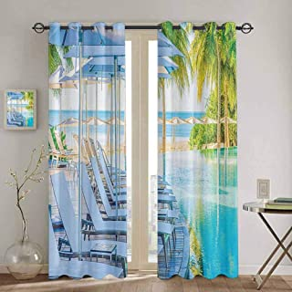 SONGDAYONE Closet Curtain House Decor Collection Easy to Clean Luxury Hotel Pool Near Beach Palm Trees Exotic Resort Umbrella Sunbed Chair Picture W55 x L45 Inch Green Aqua