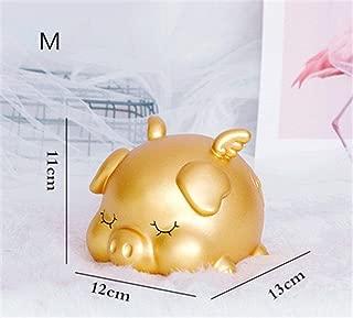 Fenghejp Not Afraid of Falling Money, Pig Piggy Bank, Cute Pig Piggy Bank, Birthday Gift, New Year, Creative Gift Ornaments, Send Children (Color : Gold, Size : M)