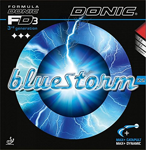 DONIC BlueStorm Z2, 2.1 mm Red and Black, Table Tennis Rubbers (2 Pieces)