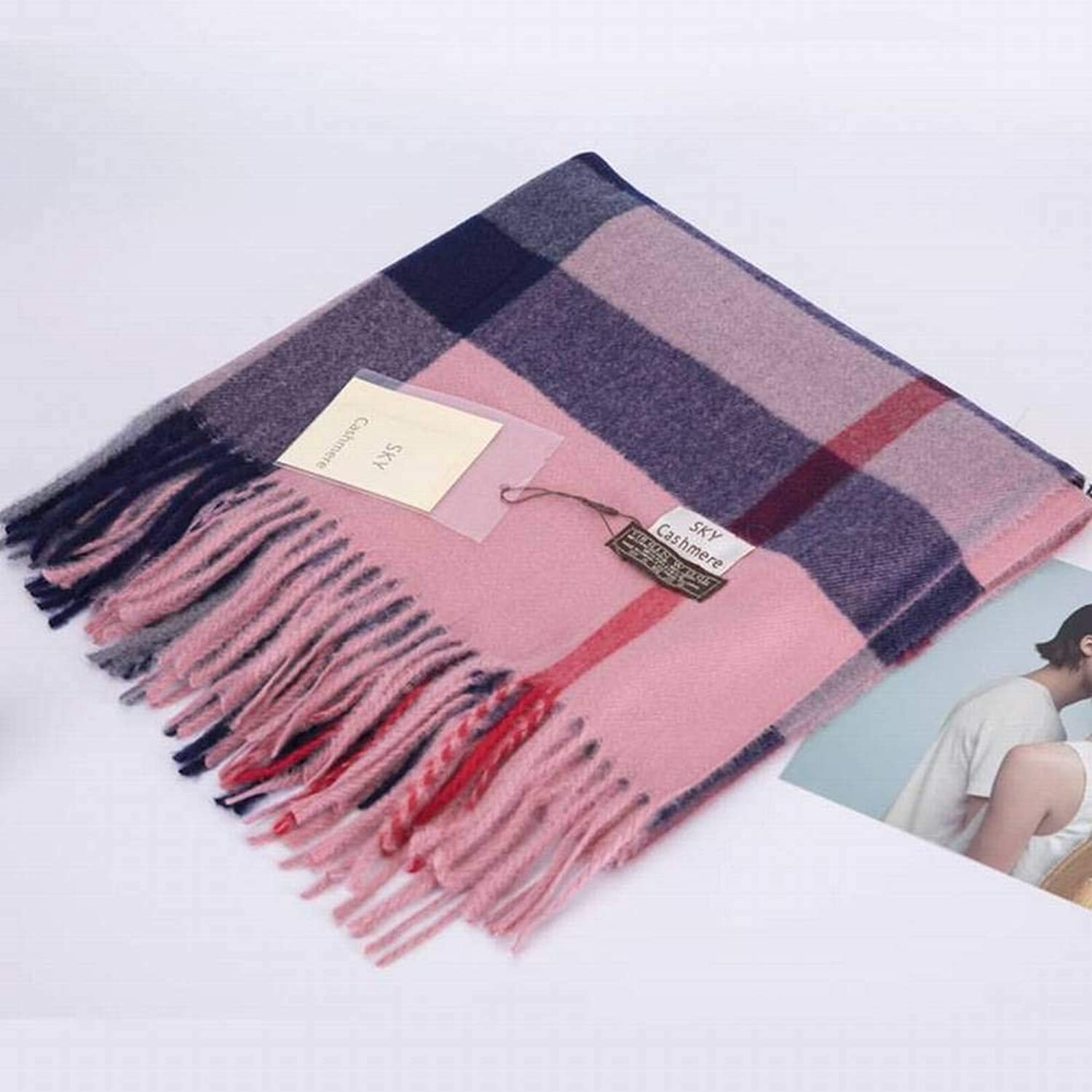 WJL Sweet Tassel Wool Men Warm Plaid Long Autumn and Winter Outdoor MultiFunctional Fgreyion Trend Wild Warm Shawl Scarf Gift