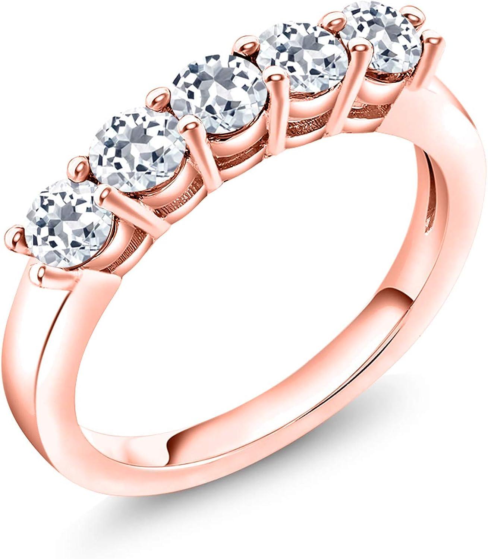 Gem Stone King 1.08 Ct Sale item Round White Rose 18K Gold Topaz Plated Si Regular discount