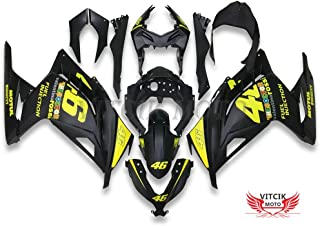 VITCIK (Fairing Kits Fit for Kawasaki EX300R Ninja 300 ZX300R 2013 2014 EX300R ZX300R 13 14 Plastic ABS Injection Mold Complete Motorcycle Body Aftermarket Bodywork Frame (Black & Yellow) A041