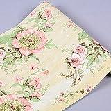 Grand rouleau Autocollant Floral Papier Contact Shelf Liner pour tiroir Armoire de cuisine étagères Table Arts and Crafts Autocollant mural (45x 1000cm, Jaune)