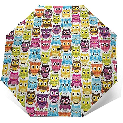 Owls with Different Expressions Travel Umbrella Sun Umbrella-Lightweight Windproof Sunscreen Umbrella-Auto Open and Close Button