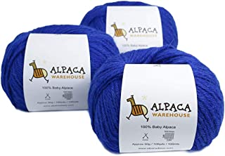 100% Baby Alpaca Yarn Wool Set of 3 Skeins Worsted Weight (Azure Blue)