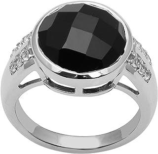 Bezel Set Black Spinel Gemstone 925 Sterling Silver Wedding Solitaire Ring