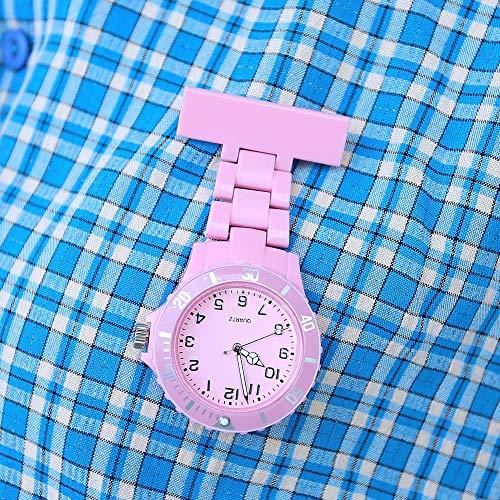 Women's Fashion Nurse Clip-on Fob Brooch Lapel Hanging Pocket Watch Pink