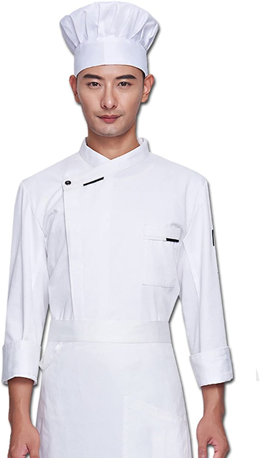 XINFU Chef's Uniform Uniexe Long Sleeved Restaurant Kitchen Cooking Hidden Single Breasted Chef Coat