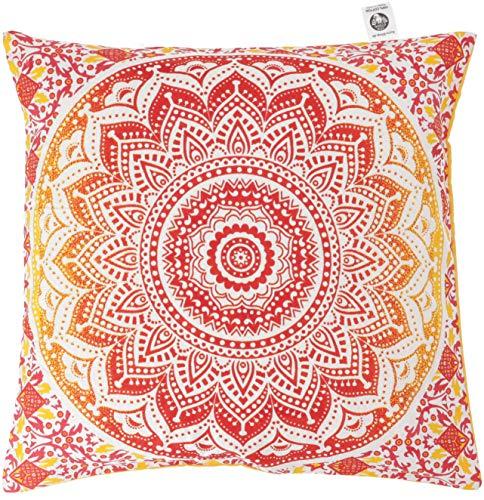 Guru-Shop Kissenhülle Sonnen - Mandala, Bedruckter Boho Kissenbezug - Orange, Baumwolle, 40x40 cm, Zierkissen, Dekokissen, Sofakissen