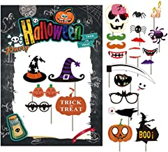 7-gost Halloween Party Card Masks Pumpkin Photo Booth Props Supplies with Paper Frame(Pack Of 28)