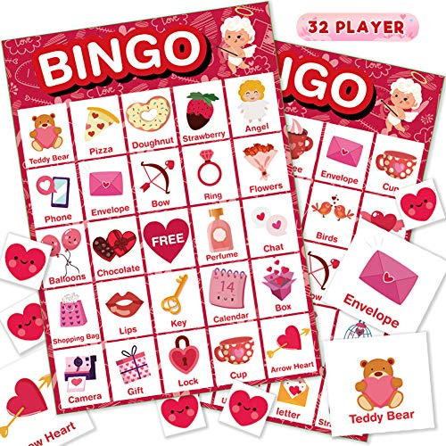 Valentine's Day Bingo Game Cards for Kids/Adult, 32 Players Bingo Card for Family/School...