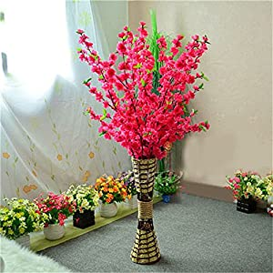 WDDH 6Pcs Artificial Peach Blossom Trees, 26inch Length Silk Simulation Flowers Peach Branches Cherry Plum Bouquet Branch Arrangements for Home Wedding Decor