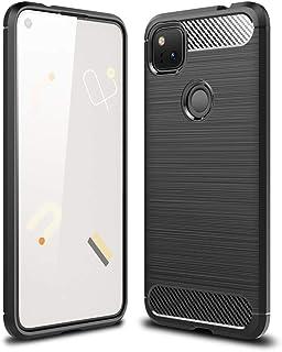 Google Pixel 4A ケース YEZHU 炭素繊維カバー TPU 保護 軽量 弾力性付き衝撃吸収バンパー Pixel 4Aケース 対応 (ブラック)