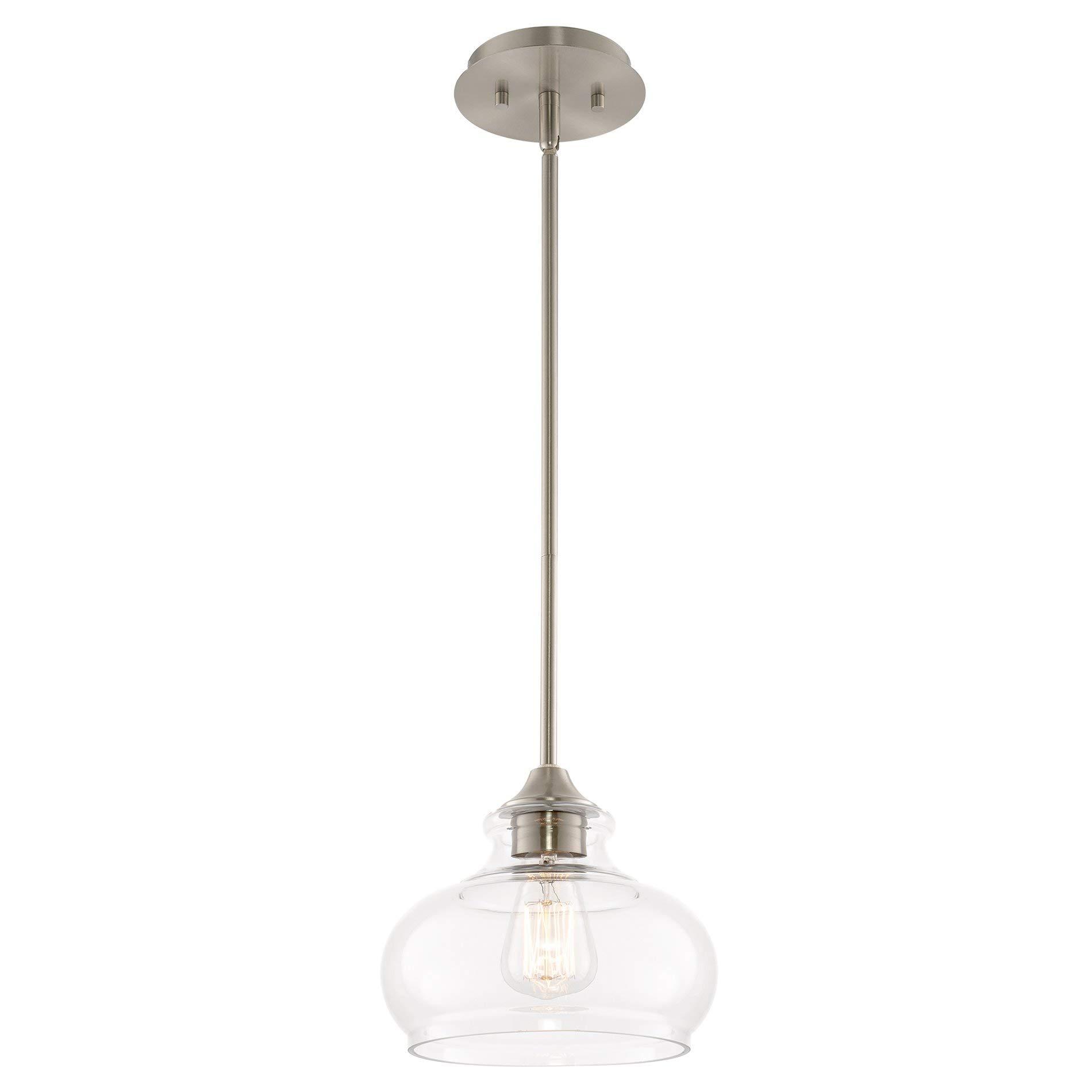 ETL Listed CRI 90+ 40 Watt Equivalent Integrated LED Kitchen Lighting 640lm Premium Bubble Glass with Chromed Finished Hykolity 1-Light Mini Pendant Ceiling Fixture 8.5W