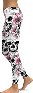 Women's Sugar Skull Printed Leggings Halloween Brushed Buttery Soft Ankle Length Tights
