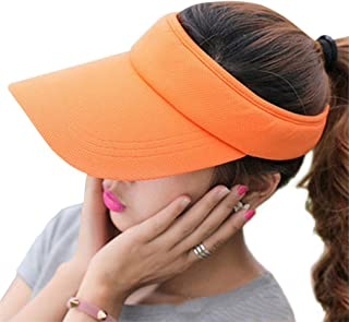 RICHTOER Wide Brim UV Protection Visor Sun Hat with Adjustable Strap Open-top Peaked Flat Hat