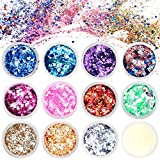Lictin Purpurina para Cara Cuerpo Pelo Rostro Uñas Mejilla Paillette Maquillaje Brillantes Corazones Estrellas 11 colores para vacaciones