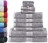 GREEN MARK Textilien 10 TLG. FROTTIER Handtuch-Set mit verschiedenen Größen 4X Handtücher, 2X Duschtücher, 2X Gästetücher, 2X Waschhandschuhe | Farbe: Silber grau | Premium Qualität