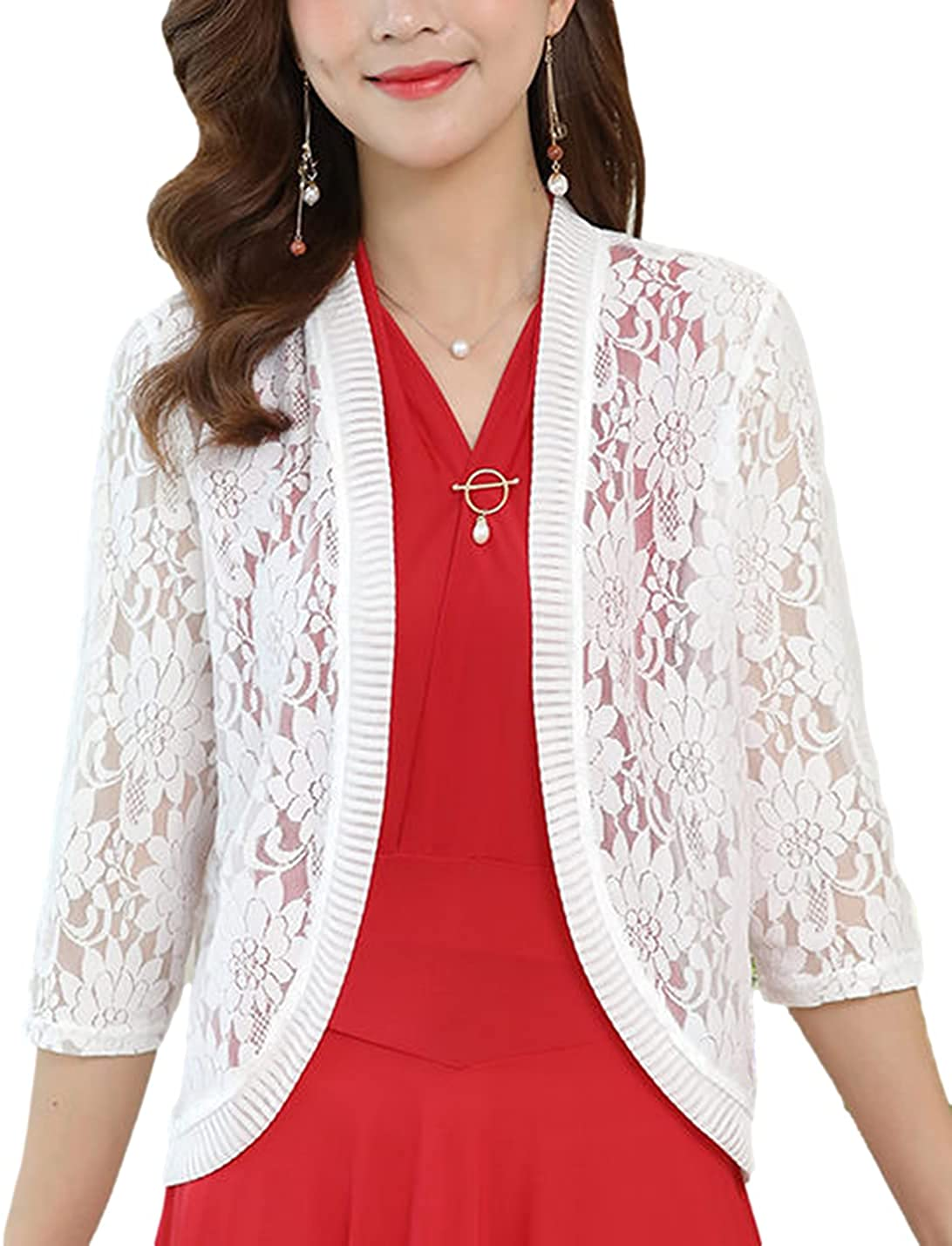 Omoone Womens 3/4 Sleeves Lace Crochet Cardigan Open Front Casual Shrug Cami Tops