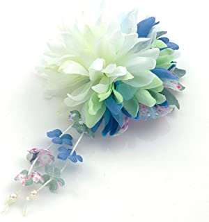 [ミッシュキッシュ]髪飾り ヘアアクセサリー コサージュ 1輪マムと下がりの和柄クリップ 4517-570