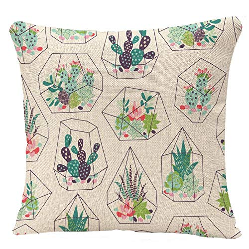 YGGQF Pillow Covers Cactus with Succulents and Cactuses with Inky in Glass Terrariums Trendy Tropical Design Flower Desert Pillow Case Cushion Cover for Home Decor 18 x 18 Inches Square Pillowcase