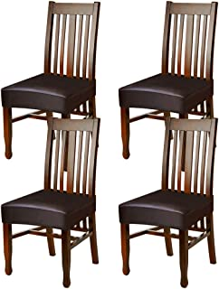 Fuloon Dining Chair Covers,Solid Pu Leather Waterproof and Oilproof Stretch Dining Chair Protctor Cover Slipcover (4 Sets, BNB)
