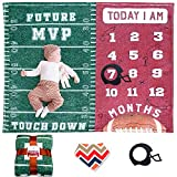 Sukoon Monthly Milestone Blanket for Baby Boy / Girl | Includes Frame and Bib | Football Theme | Large | 47'x40' | Personalized Baby Blanket for Newborn Baby Shower