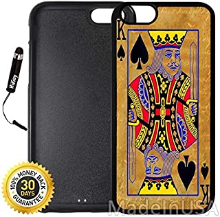 Custom iPhone 6/6S Case (King Playing Cards Vintage) Edge-to-Edge Rubber Black Cover with Shock and Scratch Protection | Lightweight, Ultra-Slim | Includes Stylus Pen by INNOSUB