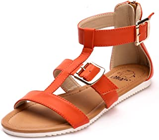 Alexis Leroy Back Zip Flat Strappy Gladiator Womens Ankle Strap Sandals