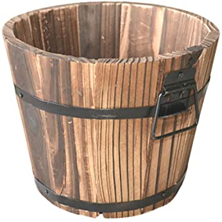 Cabilock Wooden Flower Pots Whiskey Barrel Planter Round Garden Flower Bucket Large Plant Pot for Indoor Outdoor Home Gard...
