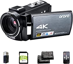 4K Video Camera Camcorder ORDRO HDR-AE8 UHD 1080P 60FPS Digital WiFi Camera Camcorders IR Night Vision 3.0'' IPS Touchscre...