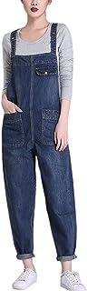 SOUGAO Macacão jeans feminino, caimento solto, casual, calça folgada, calça jeans