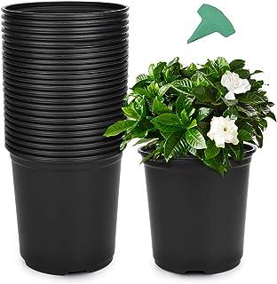 GROWNEER 24-Pack 1 گلدان قابل حمل گلدان گلدان انعطاف پذیر گلدان w / 15 عدد برچسب های گیاهی ، ظروف پلاستیکی گیاه مناسب برای گیاهان در فضای باز ، نهال ها ، گیاهان ، سبزیجات و قلمه ها