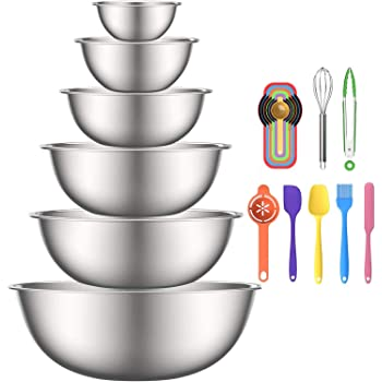 Stainless Steel Mixing Bowls, 6pcs Metal Bowls Set by AIKKIL, Nesting Bowls for Space Saving Storage, Easy To Clean, Great for Serving, Cooking, Baking, Prepping
