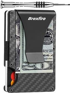 Minimalist Wallets for Men Carbon Fiber RFID Blocking Card Holder with Money Clip Cash Strap Slim Front Pocket Wallet