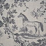 Leinenstoff | Das Edle Pferd - grau (Toile de Jouy Muster)