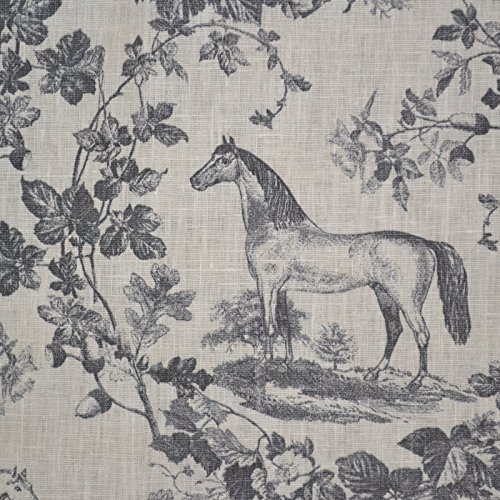 Tissu en lin imprimé - Le cheval noble - gris et blanc crème (en style Toile de Jouy) | 100% lin | Largeur: 140cm (1 mètre)