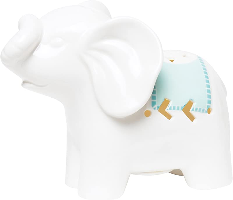 C R Gibson Porcelain Elephant LED Night Light For Newborns Babies And Nurseries 5 5 X 4 5 X 2 75