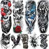 Rejaski 9 Sheets Super Long Full Arm Temporary Tattoo Sleeves For Men Women Realistic Lion Wolf Body Art Chest Shoulder Fake Tatoos Paper Waterproof Large Eagle Dragon Animal Temporary Tattoos Sticker