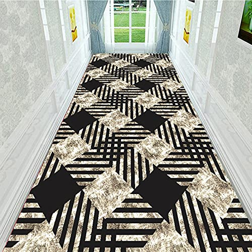 Hengqiyuan Moderna Alfombra de Corredor geométrico, alfombras Corredor Lavable Lavable, Superficie Suave y para Limpiar la Cocina del Pasillo Sala Estar,60×100cm