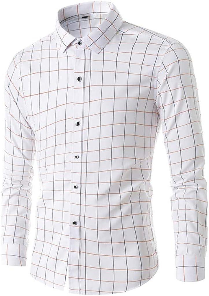 MODOQO Shirt for Men-Business Fashion Lattice Printing Long-Sleeved Wrinkle-Free Leisure Shirt