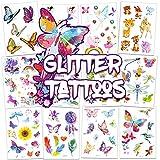 TICIAGA 16 Sheets Glitter Tattoos for Kids, Assorted Temporary Tattoos, 135 Dazzling Designs