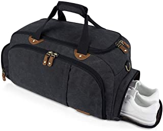 Plambag Sports Gym Duffel Bag with Shoes Compartment, Canvas Travel Luggage Tote Shoulder Bag for Man & Women(Dark Grey)