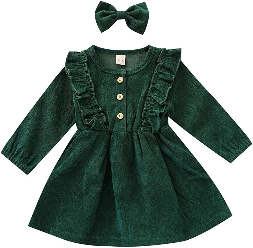 Dcohmch Toddler Baby Tampa Mall Girl Casual Sleeve Long Ruff Dress Courier shipping free shipping Corduroy