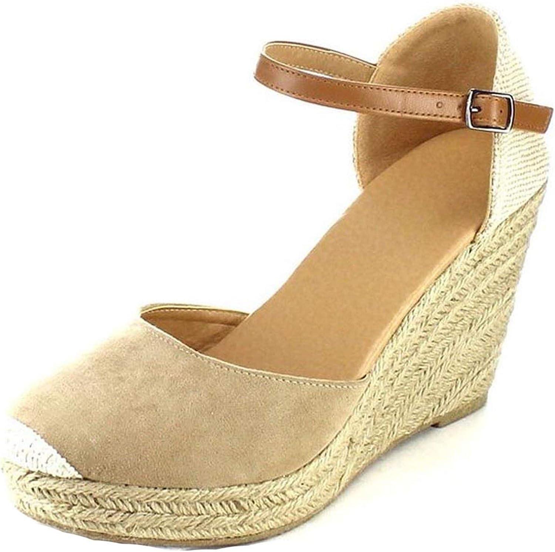 Alerghrg Platform Wedges Sandals Cover Heel Flock Gladiator Buckle Strap Mixed colors H152