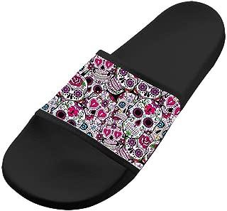 Sugar Skull Pattern Summer Slippers Non-Slip Beach Sandals House Shoes Soft Floor Slipper Open Toe for Womens Mens